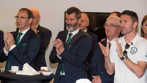 Manager Martin O'Neill, Assistant Manager Roy Keane and Robbie Keane