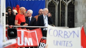 Jeremy Corbyn addressed the crowds from the top of a fire engine