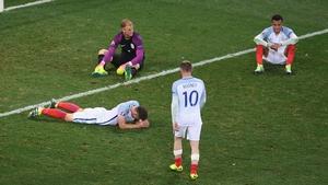 England's Premier League stars Gary Cahill, Joe Hart, Wayne Rooney and Dele Alli at the final whistle