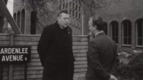 Ian Paisley during an interview with RTÉ reporter, John O'Donoghue, on Ardenlee Avenue, Belfast.
