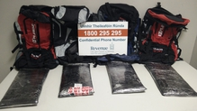 The drugs were found hidden in rucksacks (Pic: Revenue)