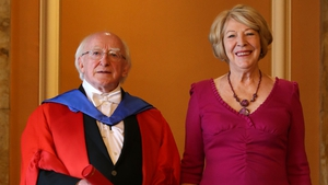 President Higgins with his wife Sabina at the University of Edinburgh