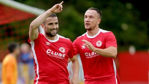 Christy Fagan celebrates his goal with Graham Kelly