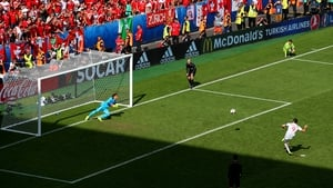 Lewandowski scores during the penalty shootout victory over Switzerland