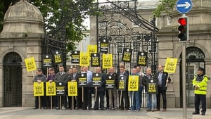 Members of the GRA protesting outside Leinster House