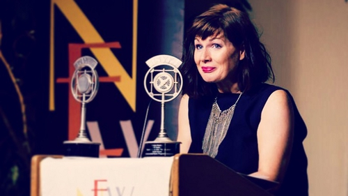 Sheena Madden picking up her awards in New York