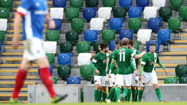 City's Sean Maguire celebrates scoring his penalty