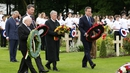 President Higgins, Sir Tim Laurence, former German president Horst Kohler and British Prime Minister David Cameron lay wreaths