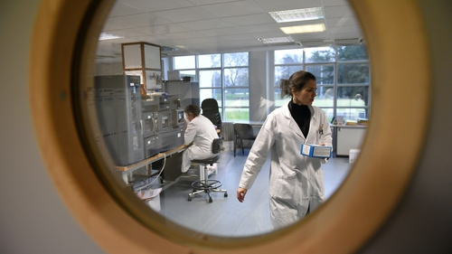 Workers inside an anti-doping lab
