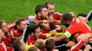 Wales celebrate Ashley Williams' (R) equaliser