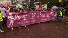 Demonstrators marched through Belfast in the All-Ireland Rally for Life, which opposes the liberalisation of abortion laws