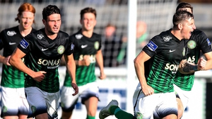 Bray's Dean Kelly celebrates scoring the first goal in a routine win over Wexford Youths
