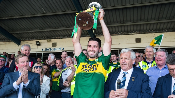 Kerry captain Bryan Sheehan lifts the cup