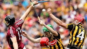 Kilkenny's Robert Lennon and Joey Holden battle with Joseph Cooney of Galway