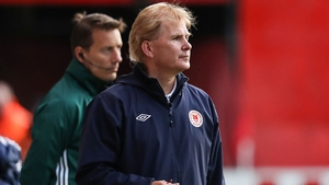 Liam Buckley watches on during last week's first leg