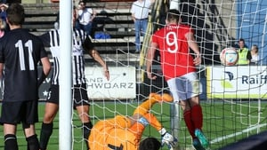 Christy Fagan celebrates Darren Dennehy's crucial goal