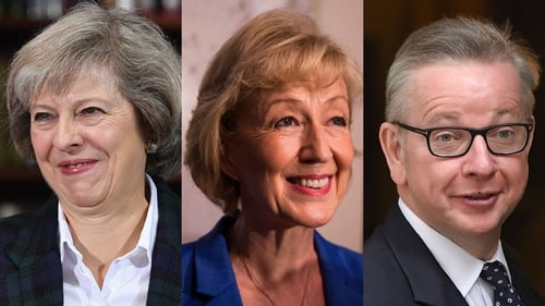 Theresa May (L), Andrea Leadsom (C) and Michael Gove are contesting to succeed David Cameron