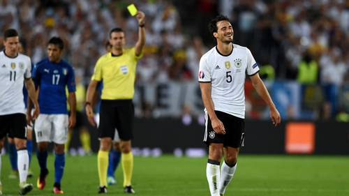 Hummels is booked in the quarter-final win over Italy