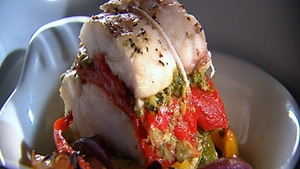 Monkfish roasted with Mediterranean vegetables and pesto.