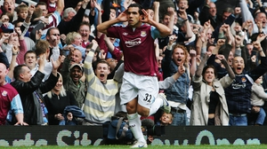 Carlos Tevez in action for West Ham in 2007