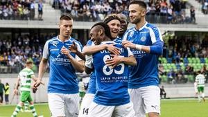 Eetu Muinonen celebrates his goal with his RoPS team-mates
