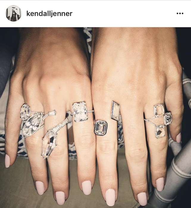 Kendall showed off her rings on Instagram