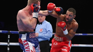 Brook lands a right on Kevin Bizier during their IBF world welterweight title fight in March