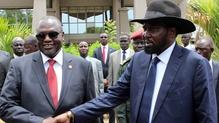 President Salva Kiir (right) and former rebel leader and Vice-President Riek Machar