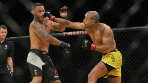 Aldo (R) is in line for a rematch with Conor McGregor