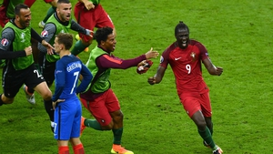Eder celebrates with the Portuguese squad