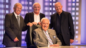 John Giles (L) with Eamon Dunphy, Liam Brady and the late Bill O'Herlihy
