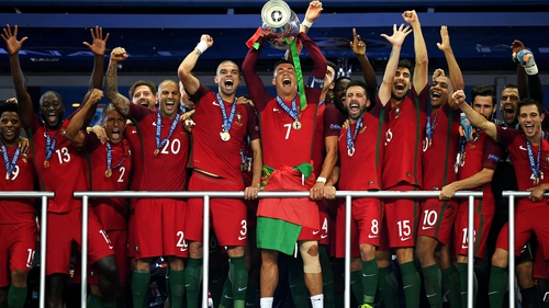 028768847c Cristiano Ronaldo hoists the trophy to spark wild Portugal celebrations