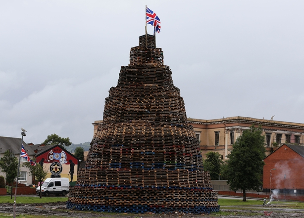 A completed bonfire in the Hopewell area in the Lower Shankill, Belfast