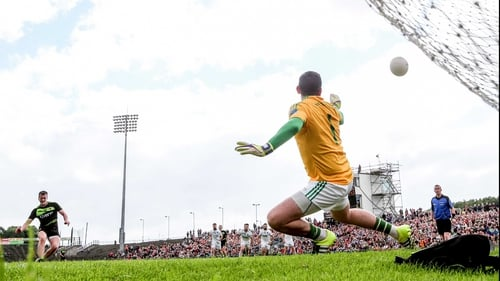 Cillian O'Connor converts a controversial penalty in Mayo's win against Fermanagh on Saturday