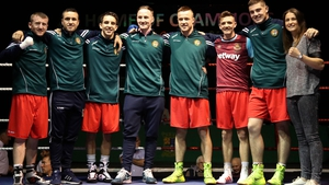 Team Ireland (l-r): Paddy Barnes, David Oliver Joyce, Michael Conlan, Michael O'Reilly, Steven Donnelly, Brendan Irvine, Joe Ward and Katie Taylor