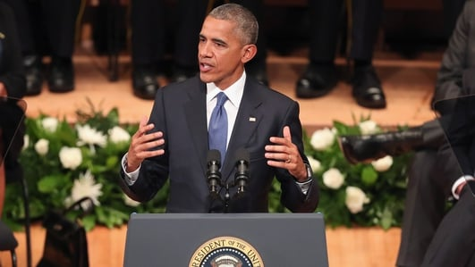 Obama addresses memorial service for police officers