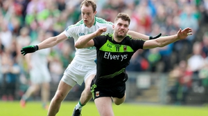 Mayo's Aidan O'Shea (R) won a controversial penalty against Fermanagh