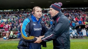 Roscommon joint-manager Fergal O'Donnel and Galway boss Kevin Walsh after last weekend's damp draw