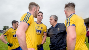 McStay talks to his Roscommon players, who now must pick themselves up off the ground