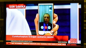President Recep Tayyip Erdogan first appeared on television via Skype in the hours after the attempted coup