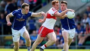 Conor McAtamney of Derry in possession against Cavan