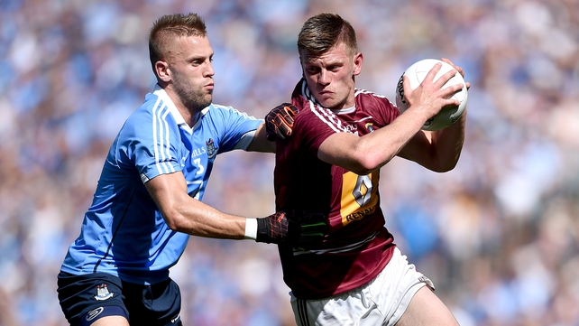 Westmeath full forward John Heslin up against Jonny Cooper of Dublin