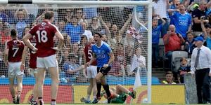 Bernard Brogan celebrates scoring Dublin's first goal on the way to a Leinster final win over Westmeath