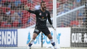 Mark Birighitti in A-League action for Newcastle Jets