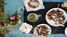 Imen's Greek Salad with Lentils & Lamb