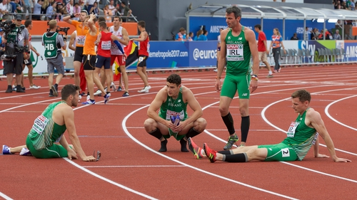 A dejected Irish 4x400m relay team after failing to secure Olympic qualification