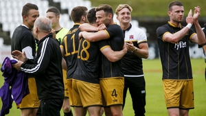 Dundalk players celebrate their progression to the next round