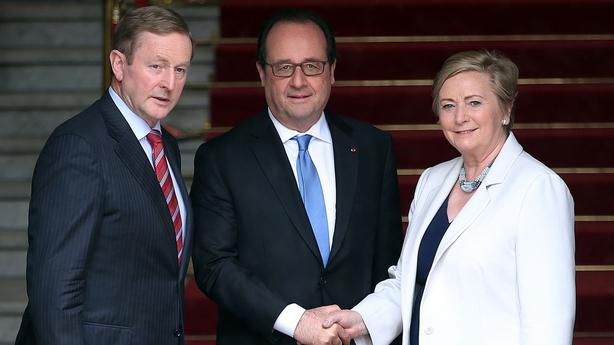 L-R Enda Kenny, Francois Hollande, Frances Fitzgerald
