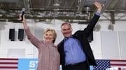 Hillary Clinton pictured with Tim Kaine