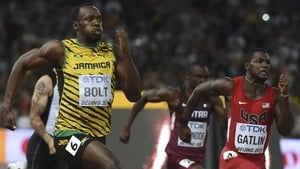Usain Bolt and Justin Gatlin at the World Championships last year